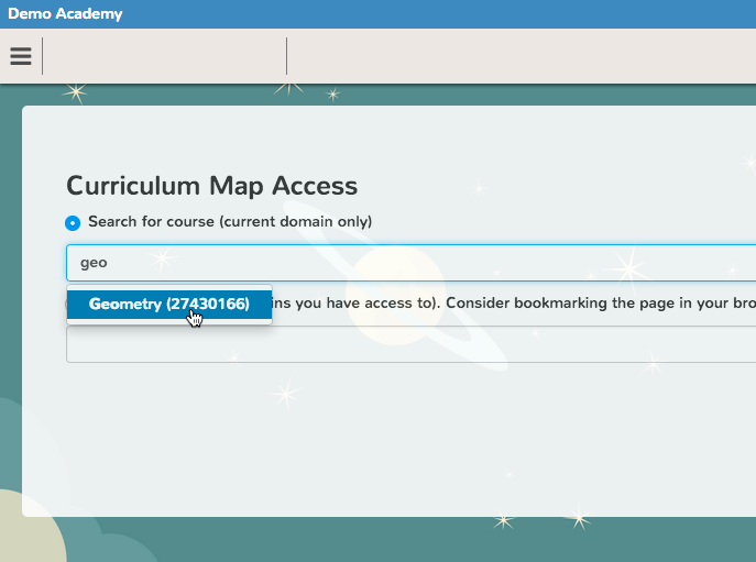 Curriculum Map course search